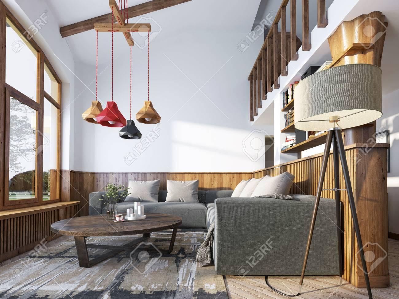 salon moderne dans un style loft salon avec canape d angle et le mur avec boiseries et de grandes fenetres le lustre d origine avec des nuances de
