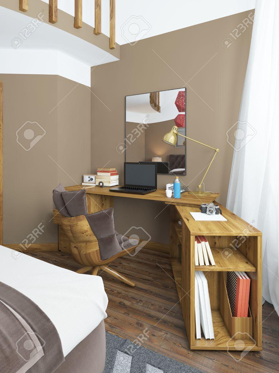 bureau dans une chambre moderne bois massif avec une piece jointe angulaire au dessus du miroir de table sur la table un ordinateur portable des
