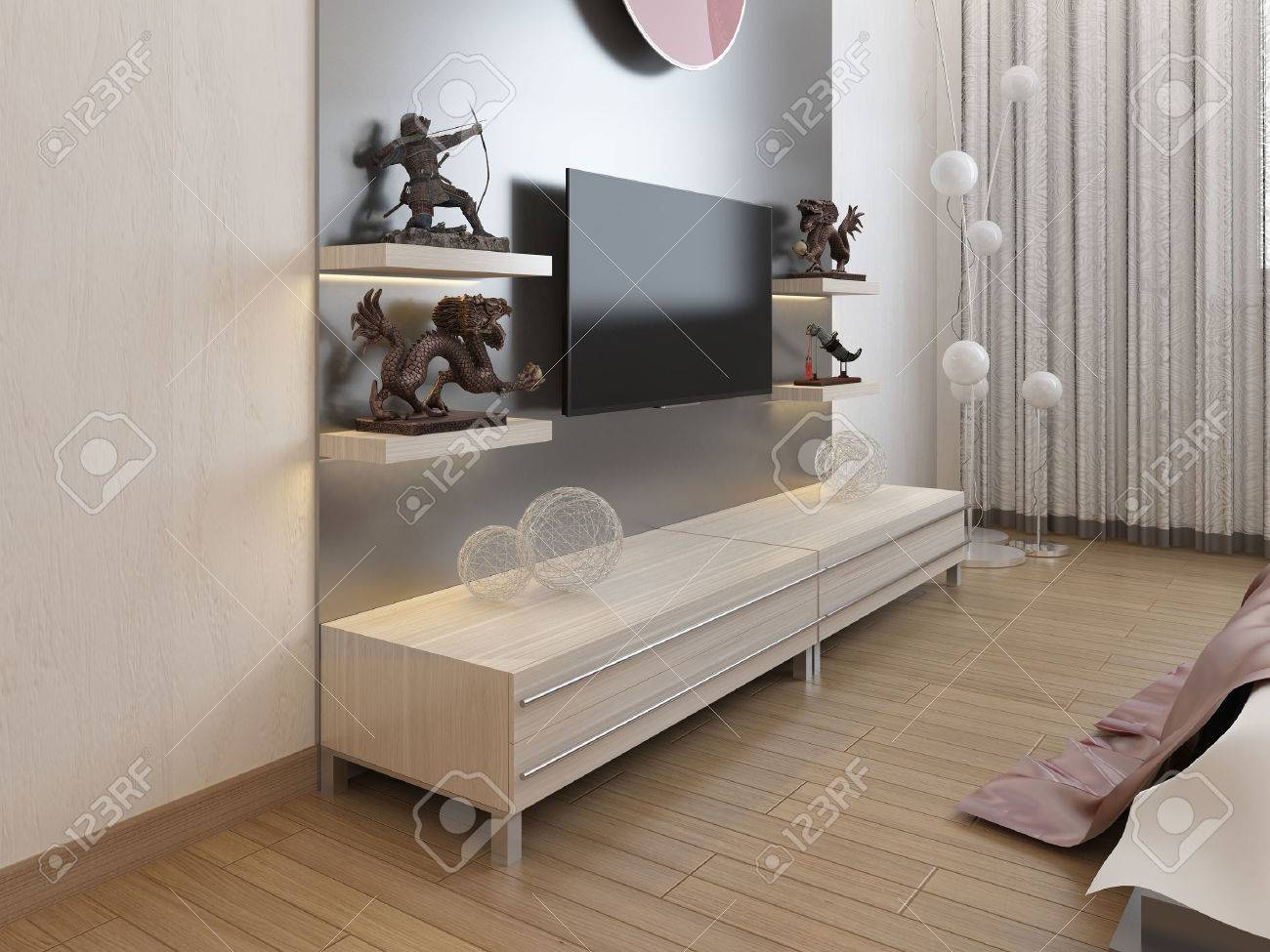 tageres de television et un placard sous la tele dans la chambre rendu 3d
