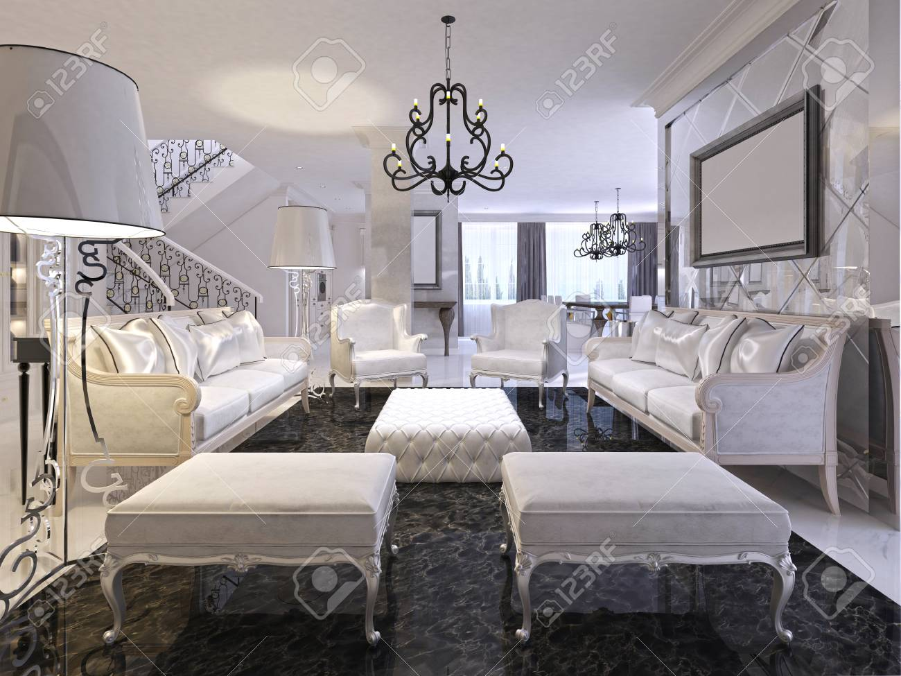 Luxury White Living Room With White Furniture And Black Marble Stock Photo Picture And Royalty Free Image Image 66484704