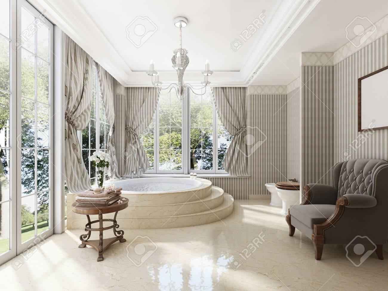salle de bains dans le luxe de style neo classique avec eviers et baignoires une grande baignoire ronde avec marches en marbre un fauteuil