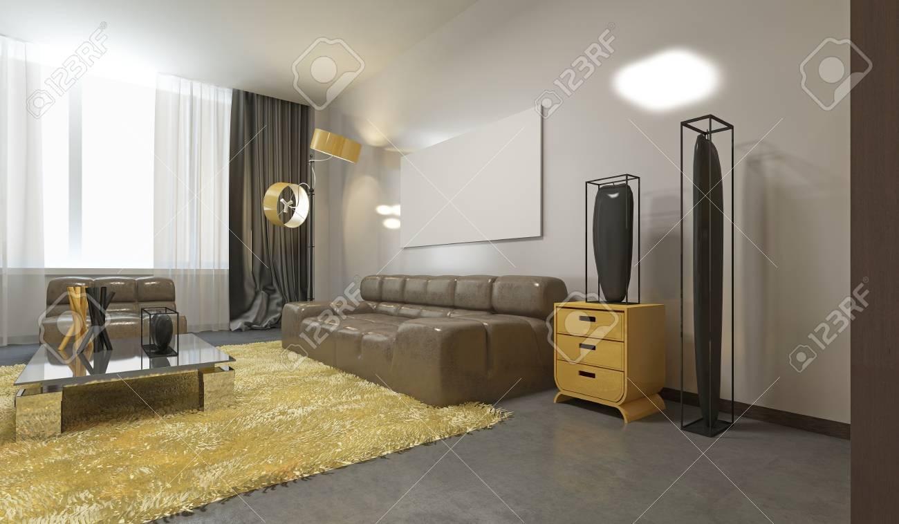 luxueux salon contemporain en gris pale jaune et marron canape en cuir une bibliotheque et un espace de travail rendu 3d
