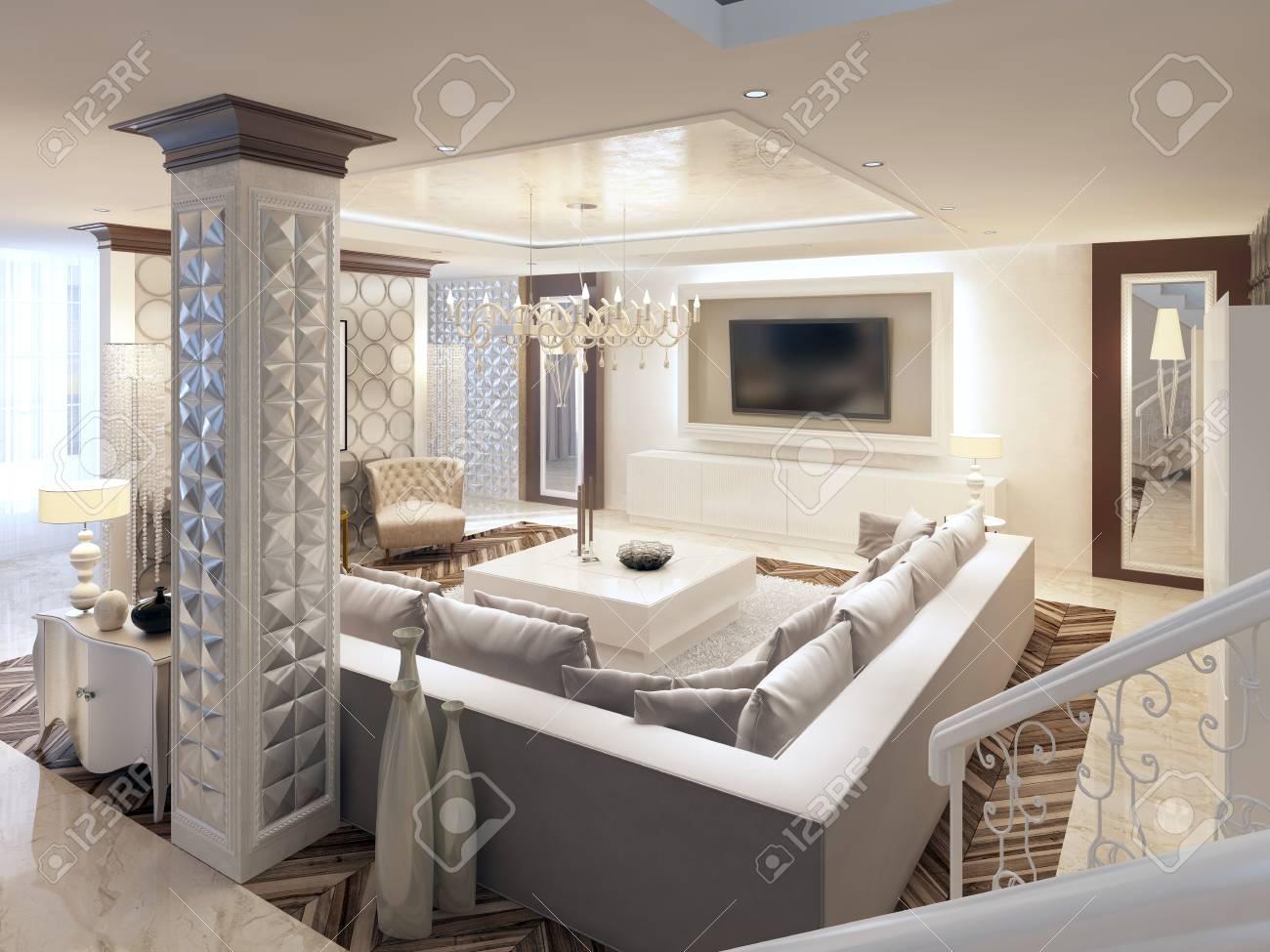 design art deco de luxe salon lumineux avec grand canape d angle et deux fauteuils conception 3d