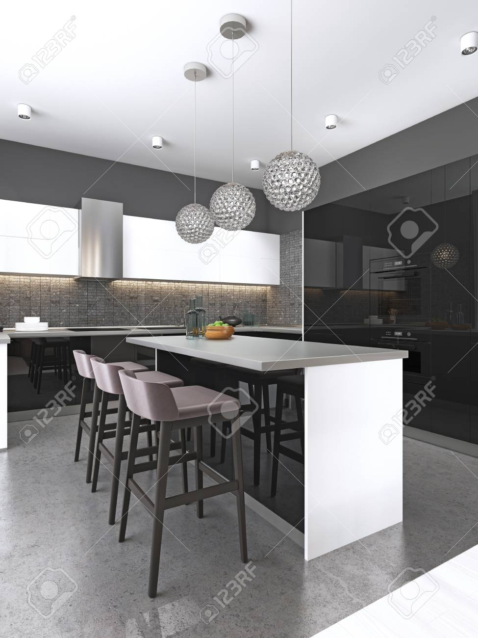 Kitchen Island With Three Bar Stools And Round Glass Chandeliers Stock Photo Picture And Royalty Free Image Image 113376602