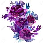 Watercolor Purple Flowers Clip Art Floral Bouquet Illustration Stock Photo Picture And Royalty Free Image Image 101840816