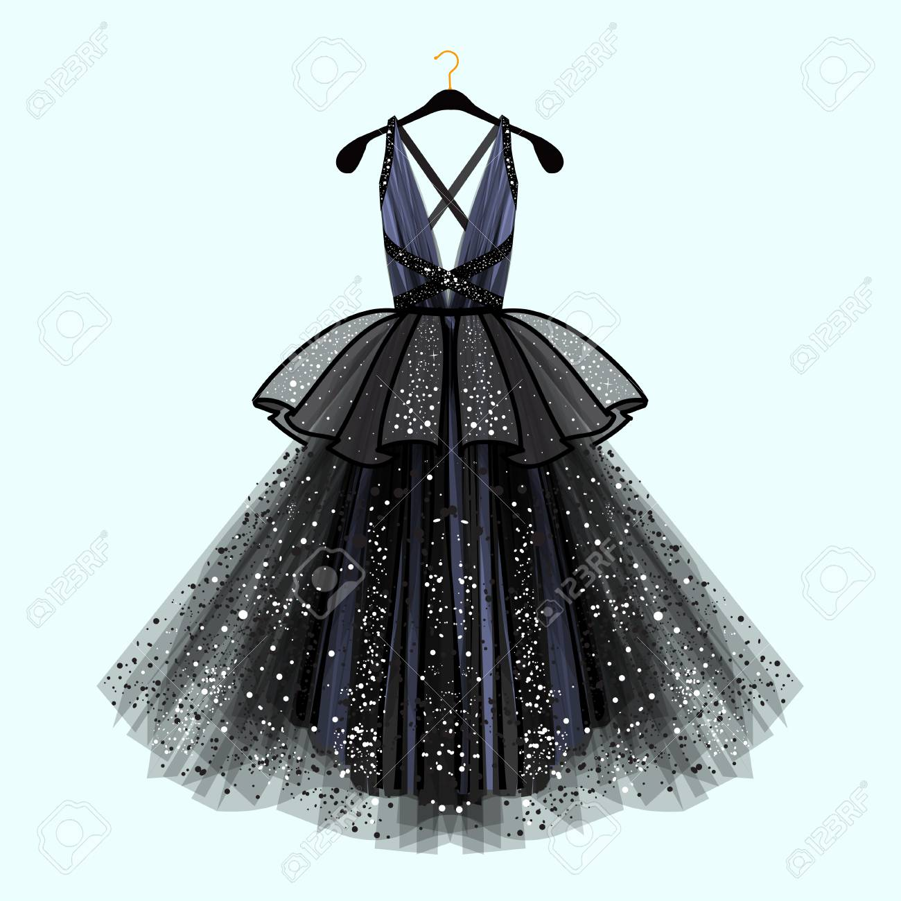 Gorgeous Party Dress  Party Dress With Fancy Decor Fashion     Gorgeous party dress  Party dress with fancy decor Fashion illustration  Stock Vector   94352982