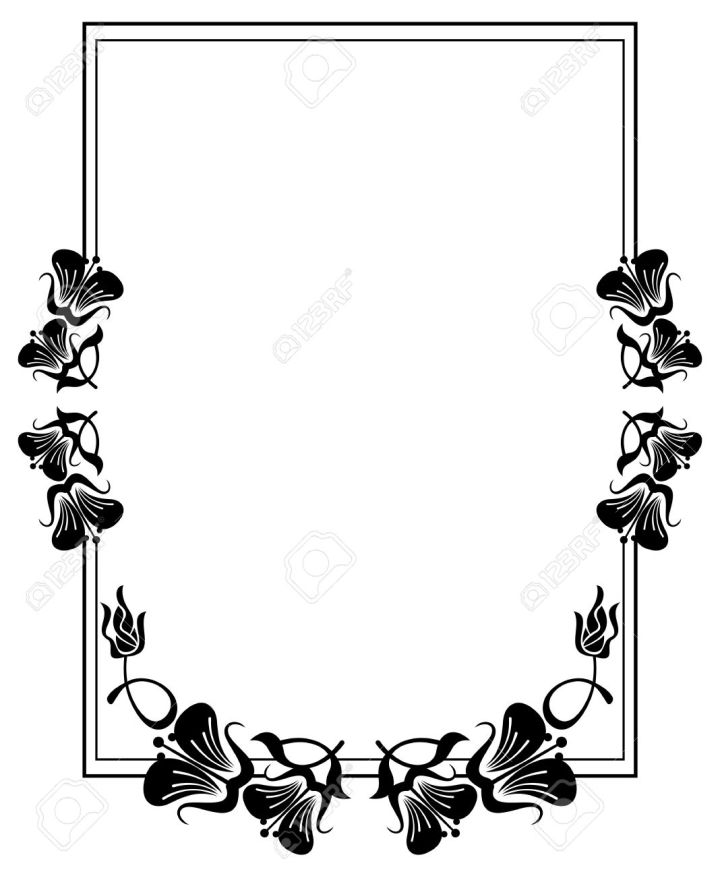 Flower Frame Clipart Black And White | Frameswall.co