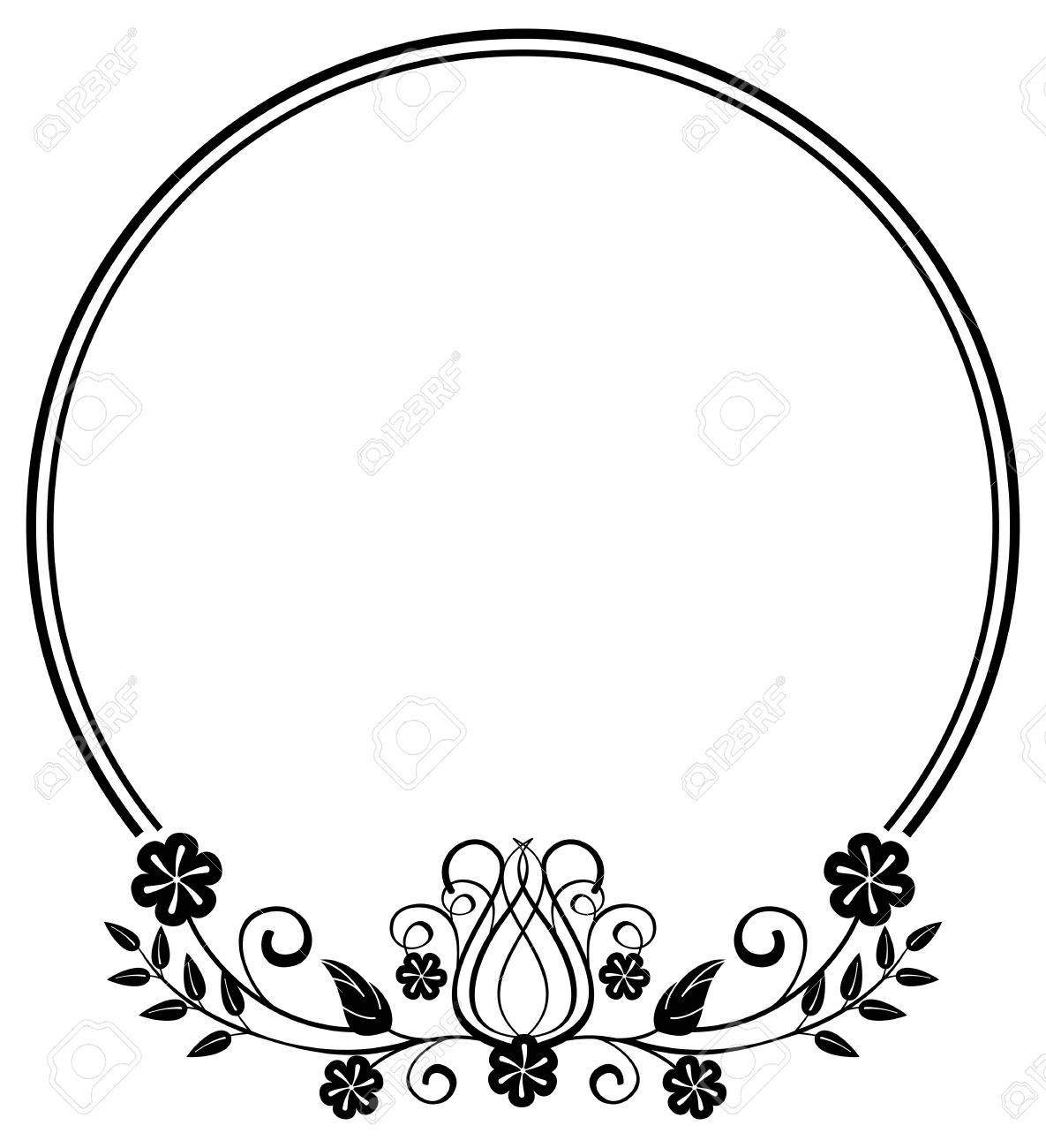Circle Frame Black And White Clipart