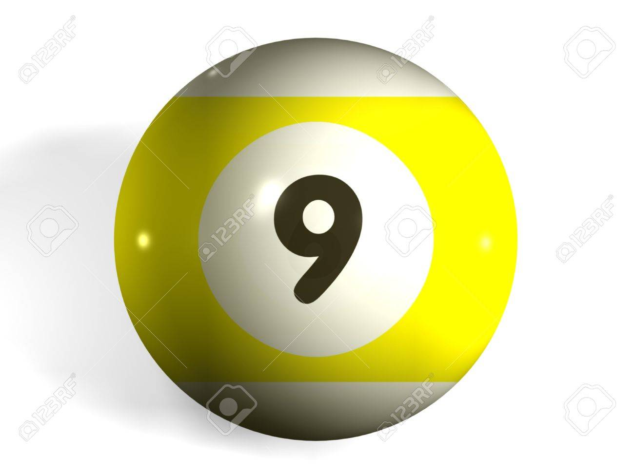 isolated 3d pool ball number 9 stock photo, picture and royalty