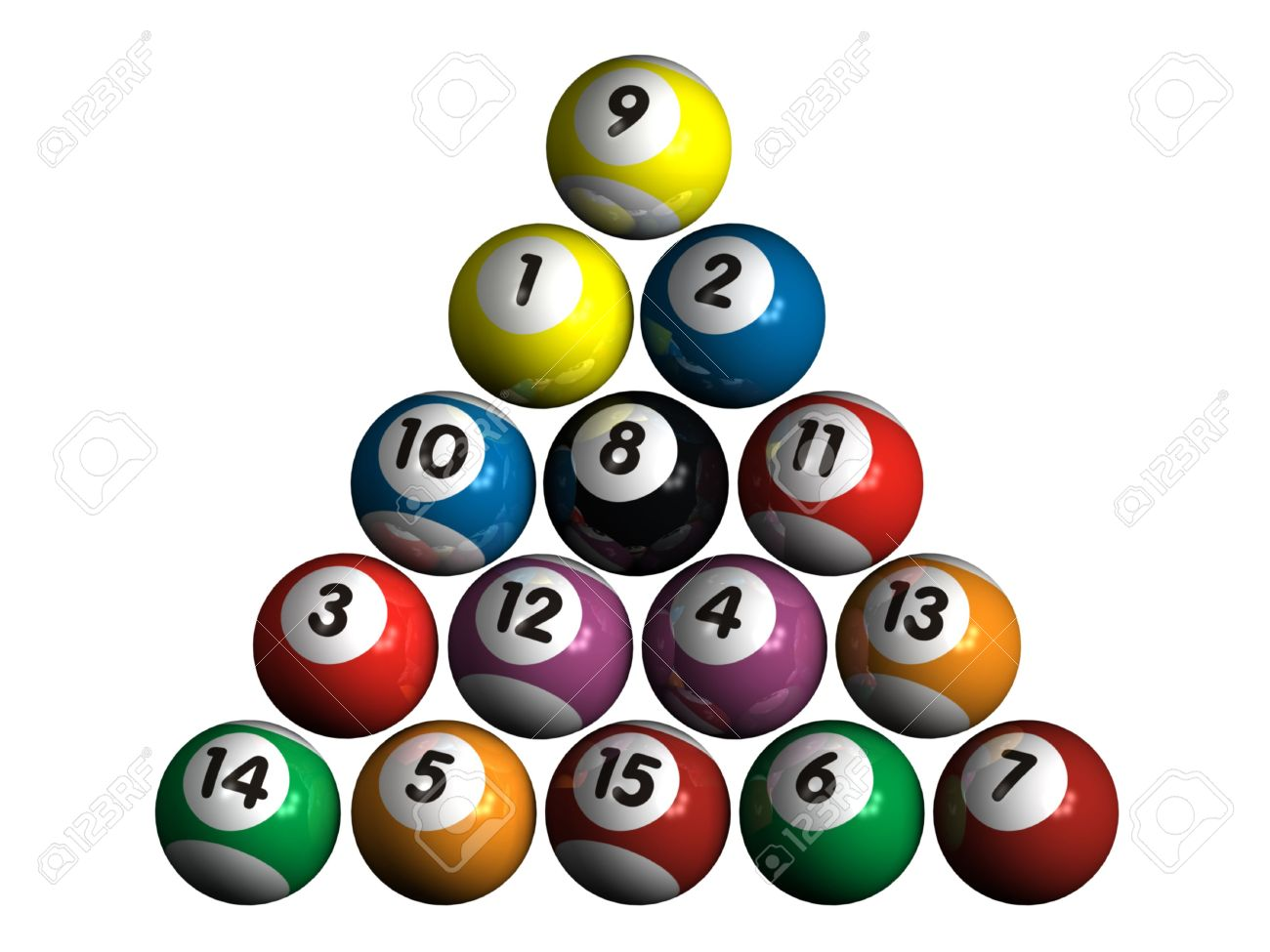 15 isolated 3d pool balls stock photo, picture and royalty free