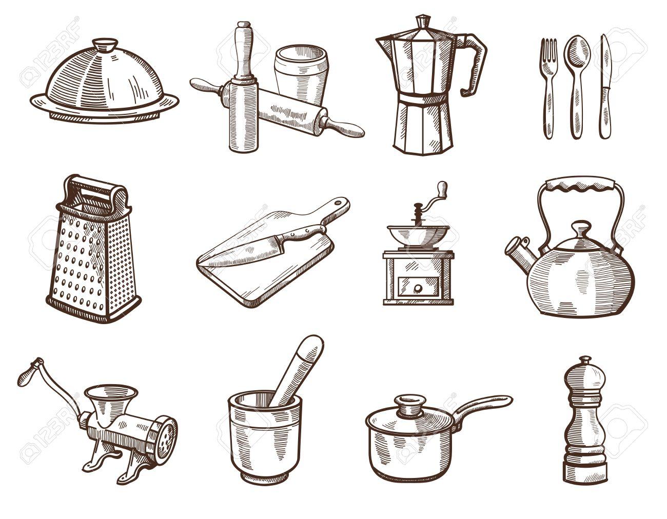 collection d ustensiles de cuisine detaillees sur un fond blanc dessins vectoriels
