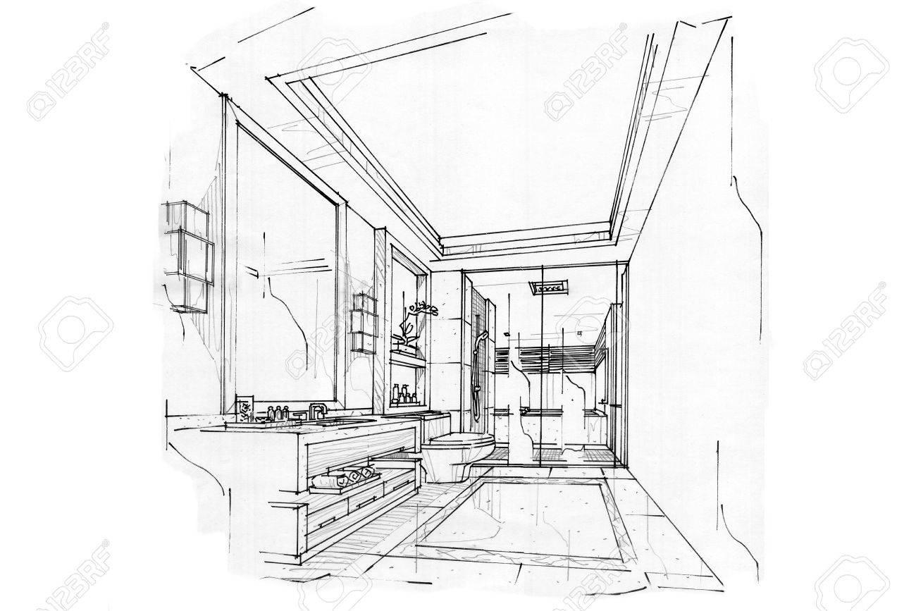 croquis interieur perspective salle de bain design d interieur en noir et blanc