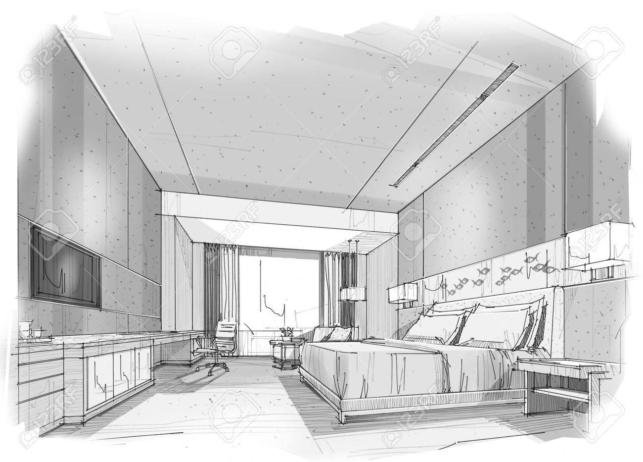 croquis perspective interieure rayures chambre couleur noir et blanc
