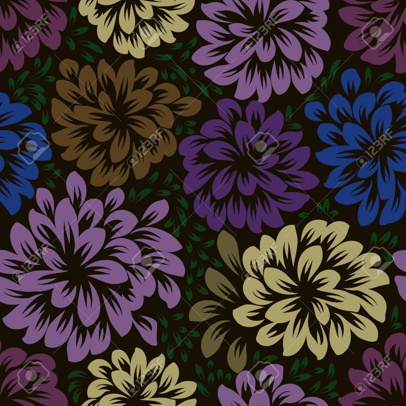 Color Dark Seamless Floral Wallpaper Pattern Vector Template Royalty Free Cliparts Vectors And Stock Illustration Image 64615090