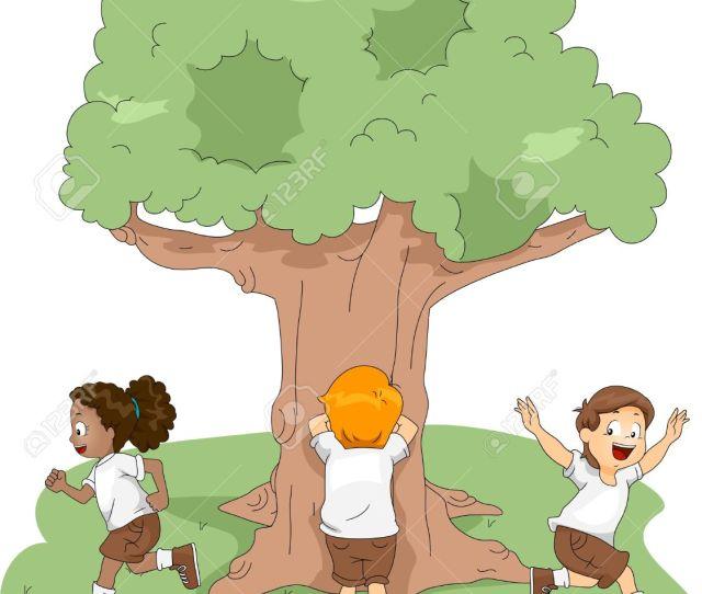 Illustration Illustration Of Kids Playing Hide And Seek At Camp