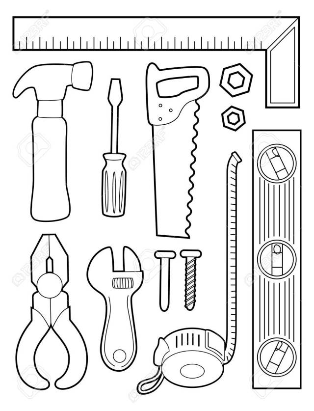 Illustration Of A Coloring Page Of Different Construction Tools