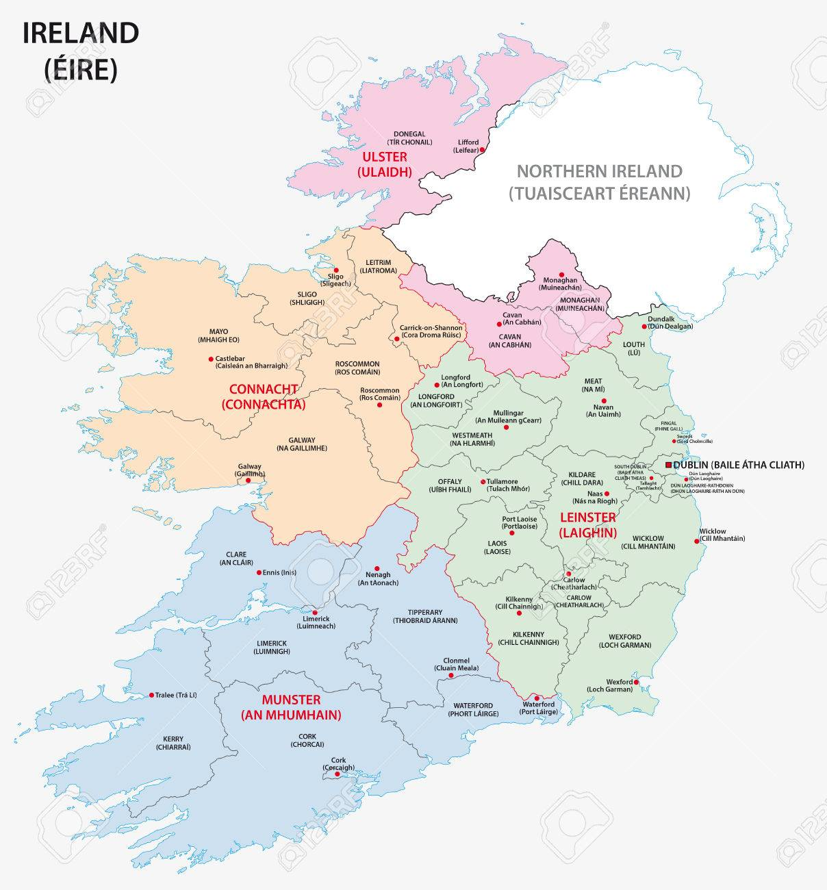 Map Of Ireland Administrative Divisions On Counties Level Royalty     Map of Ireland administrative divisions on counties level Stock Vector    51580820