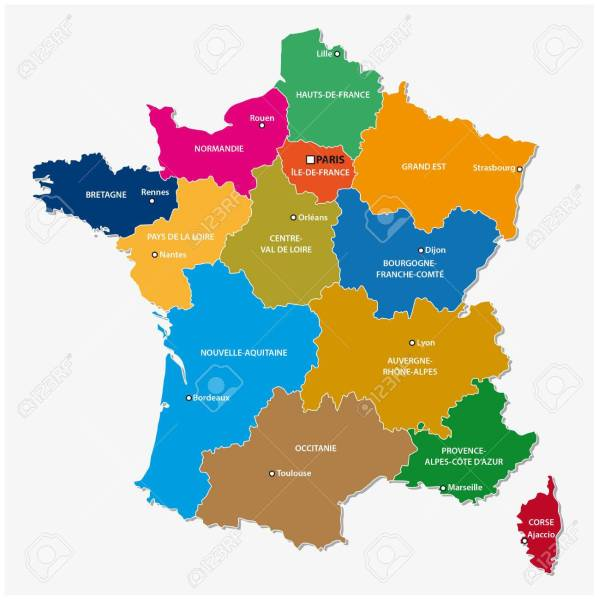Administrative Map Of The 13 Regions Of France Since 2016 Royalty     Administrative map of the 13 regions of france since 2016 Stock Vector    64574842