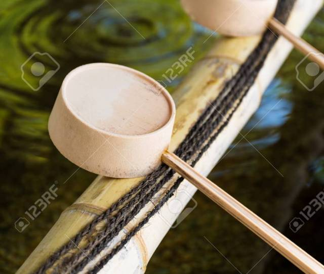 Stock Photo Traditional Japanese Bamboo Fountain Dripping Water