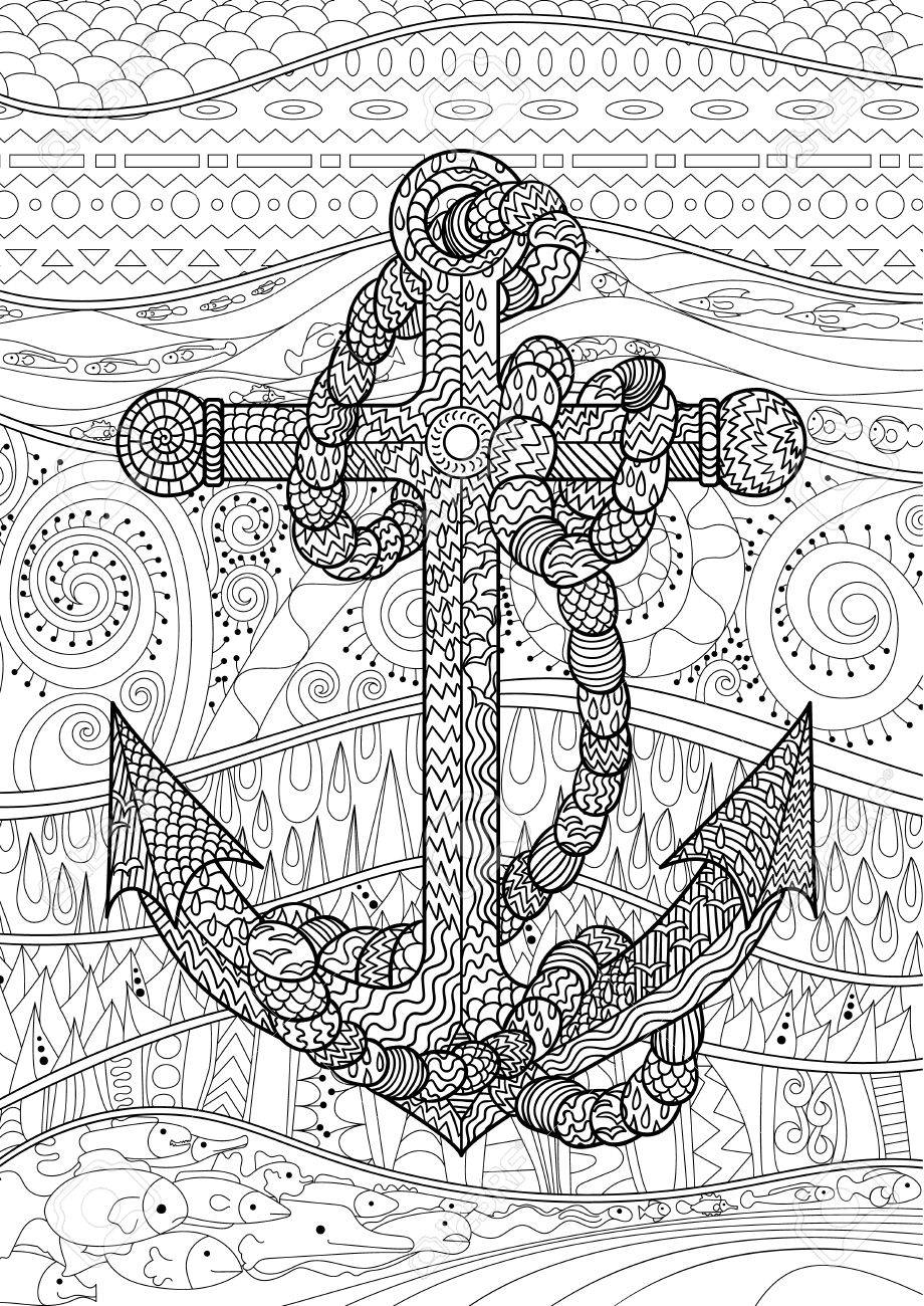 Illustration Of An Anchor And Rope Coloring Page For Adults