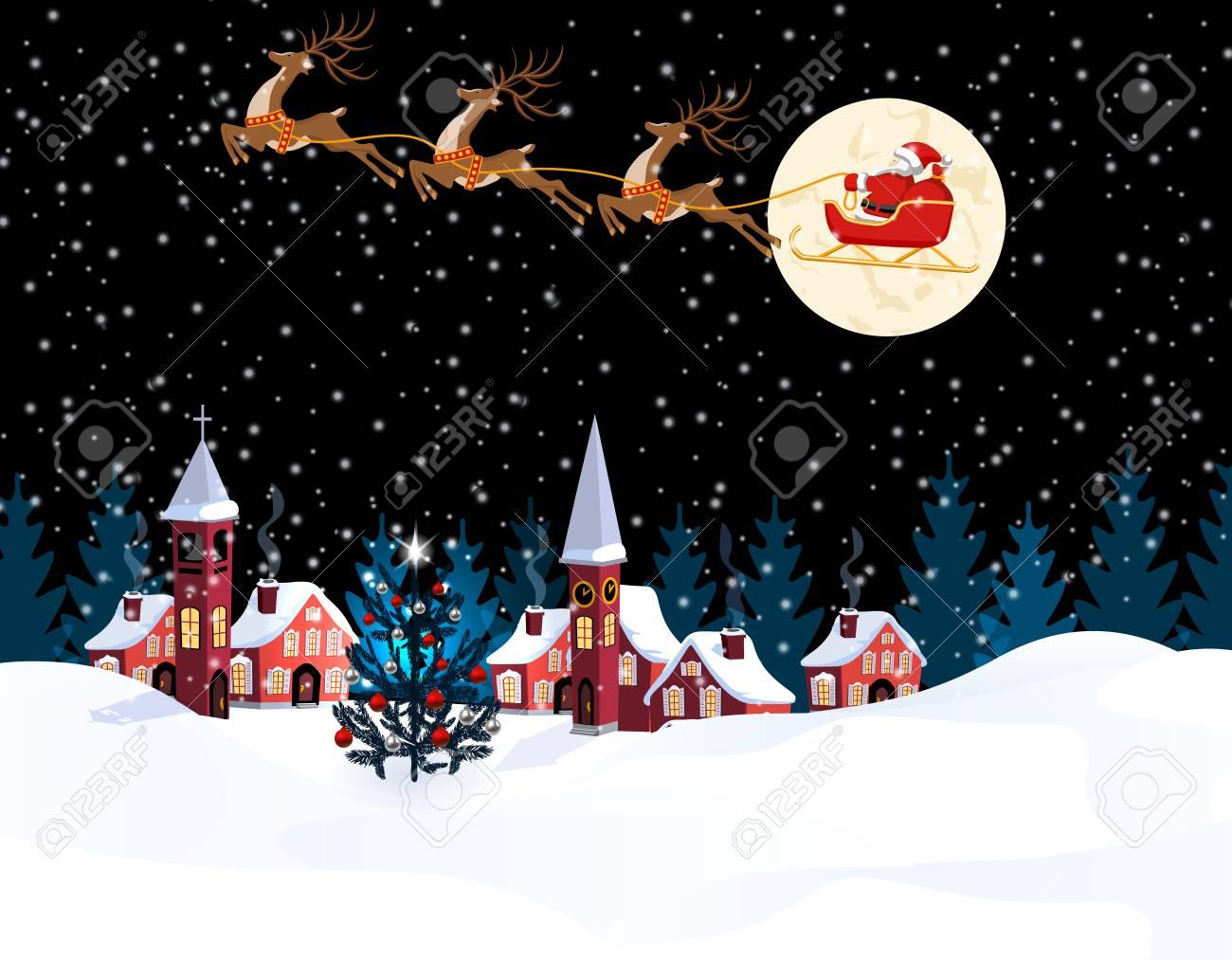 A rovaniemi per visitare la casa di babbo natale, le sue renne, le sue motoslitte, gli elfi e vivere la magica atmosfera delle feste. Vettoriale Natale Di Capodanno Un Immagine Di Babbo Natale E Dei Cervi Citta Invernale Alla Vigilia Del Nuovo Anno Neve Luna Albero Di Natale Decorato Illustrazione Image 88363504