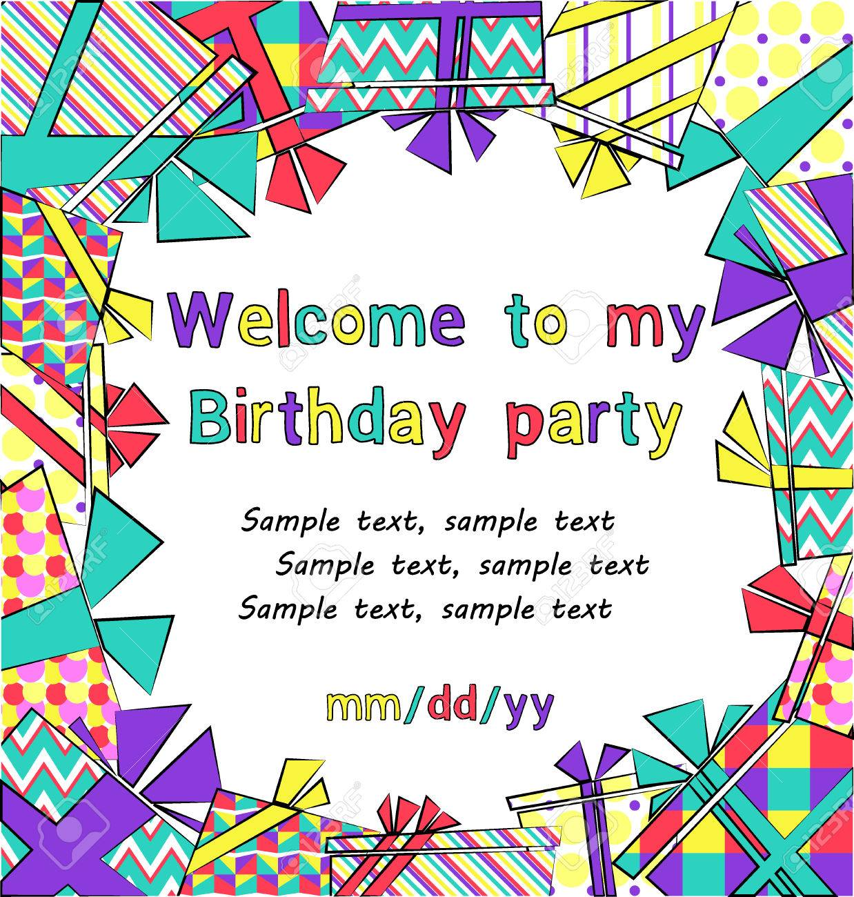 vector colorful birthday invitation card with gift boxes in different