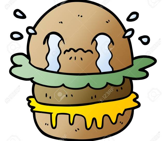 Cartoon Crying Fast Food Burger Royalty Free Cliparts Vectors