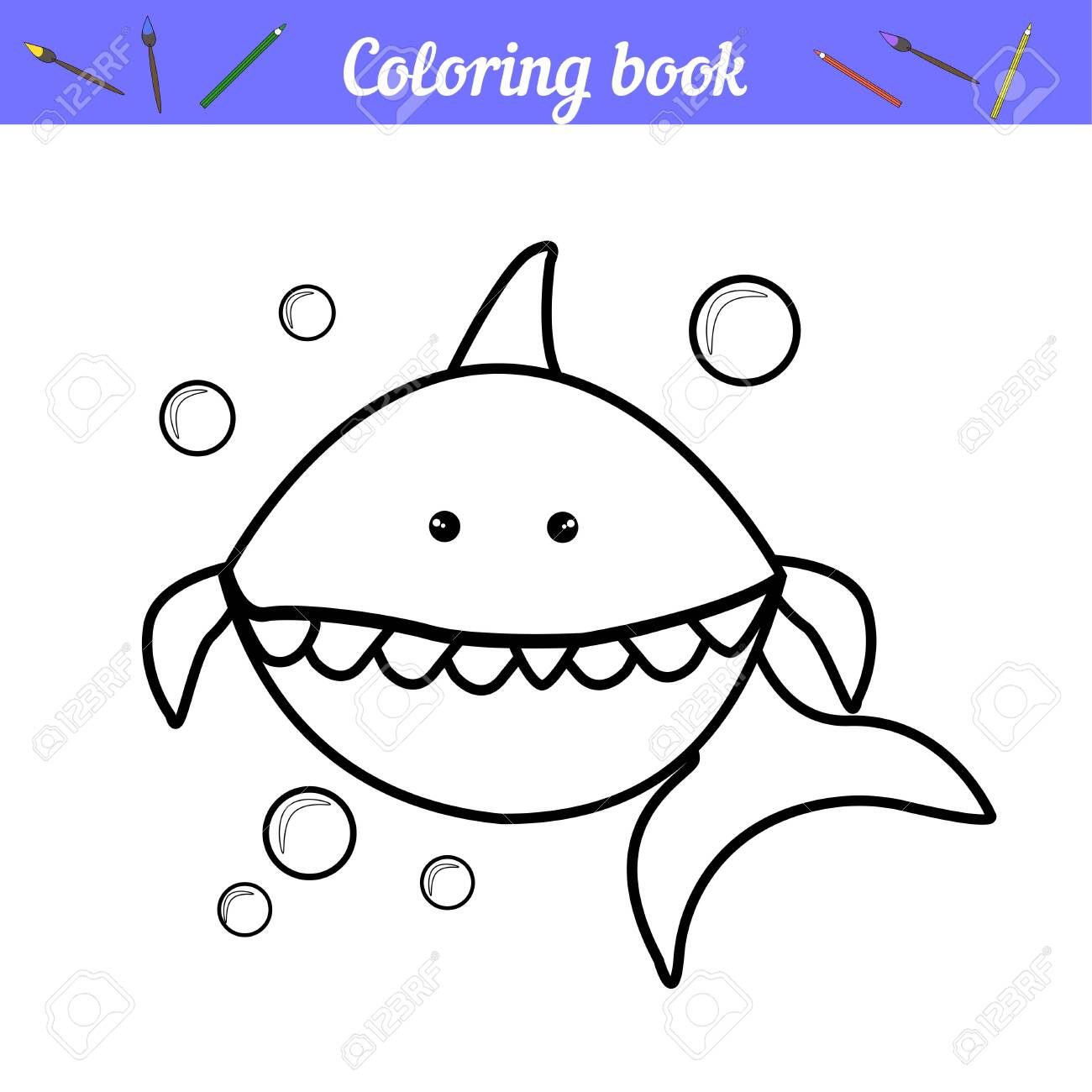 Baby Shark And Bubbles Page For Coloring Simple Coloring For Royalty Free Cliparts Vectors And Stock Illustration Image 131902255