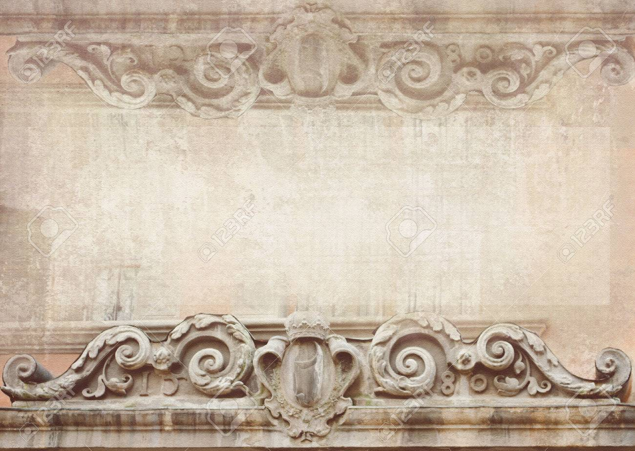 Un'esclusiva assoluta del nostro laboratorio: Blank For Flyers Messages Business Cards Posters Etc In Shabby Chic Style Graphic Pattern In Vintage Style With Meander Capitals Friezes Baroque Figures And Details Carved On Facade Building Stock Photo Picture