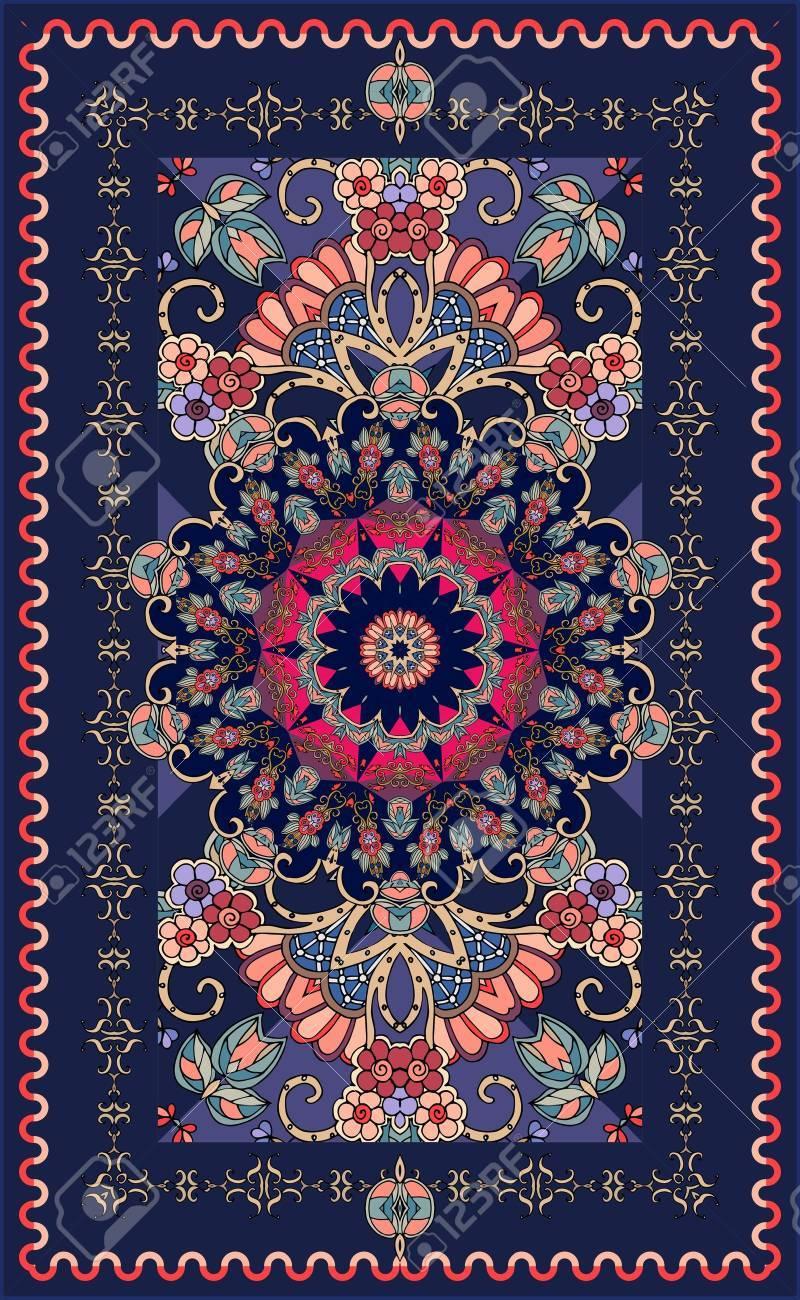 tapis ornemental bleu fonce avec une belle rosace et un motif floral motifs indiens persans turcs damas illustration vectorielle multicolore