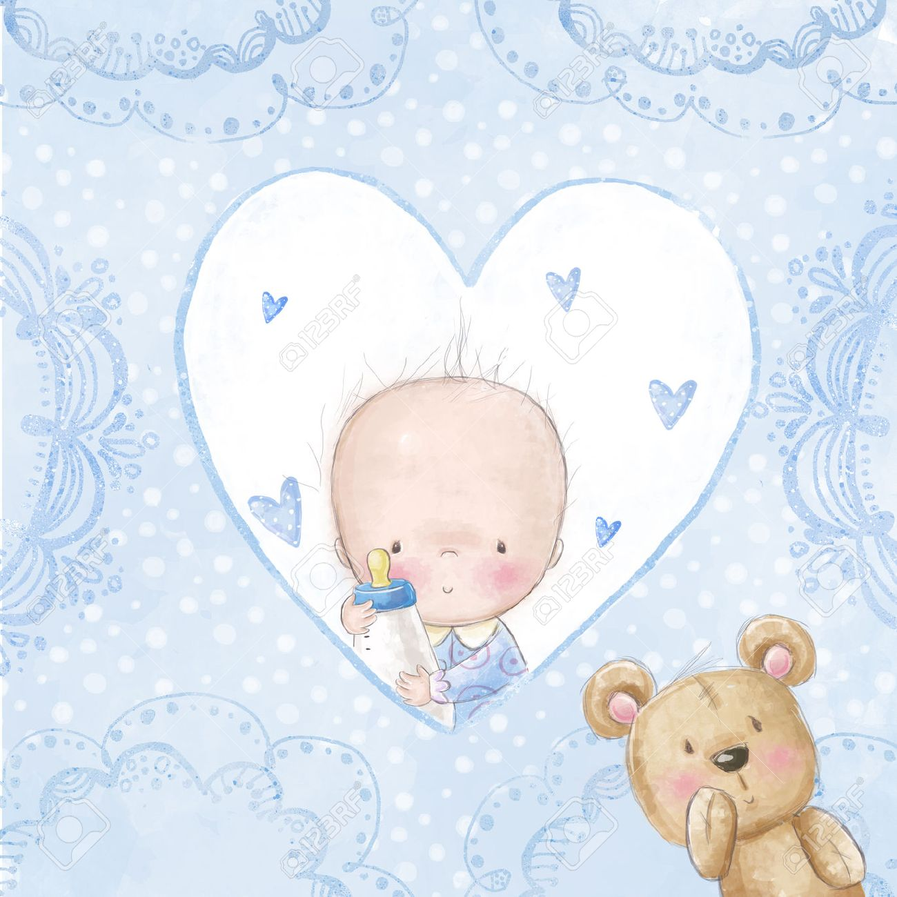 baby shower greeting card baby boy with teddy love background