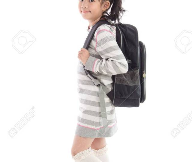 Beautiful Asian School Girl With Backpack On White Background Isolated Stock Photo 42876566