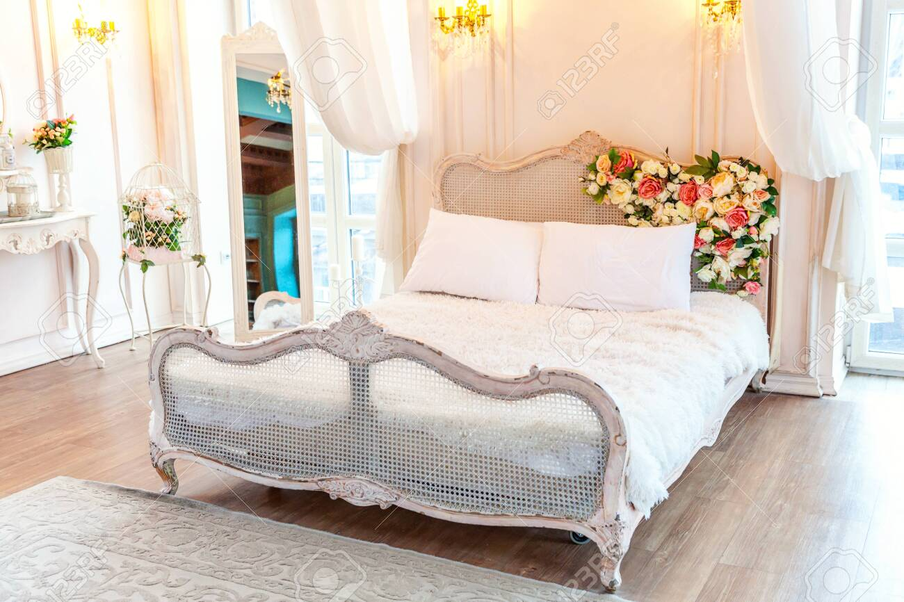 Beautiful Luxury Classic White Bright Clean Interior Bedroom Stock Photo Picture And Royalty Free Image Image 134498893