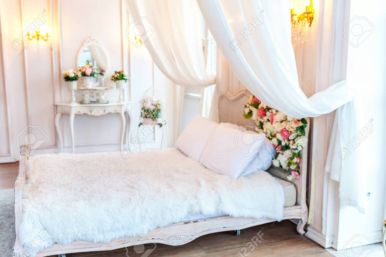 Beautiful Luxury Classic White Bright Clean Interior Bedroom Stock Photo Picture And Royalty Free Image Image 134498895