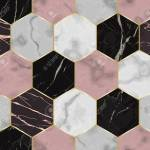 Vector White Pink And Black Hexagon Marble Seamless Pattern Royalty Free Cliparts Vectors And Stock Illustration Image 127257746