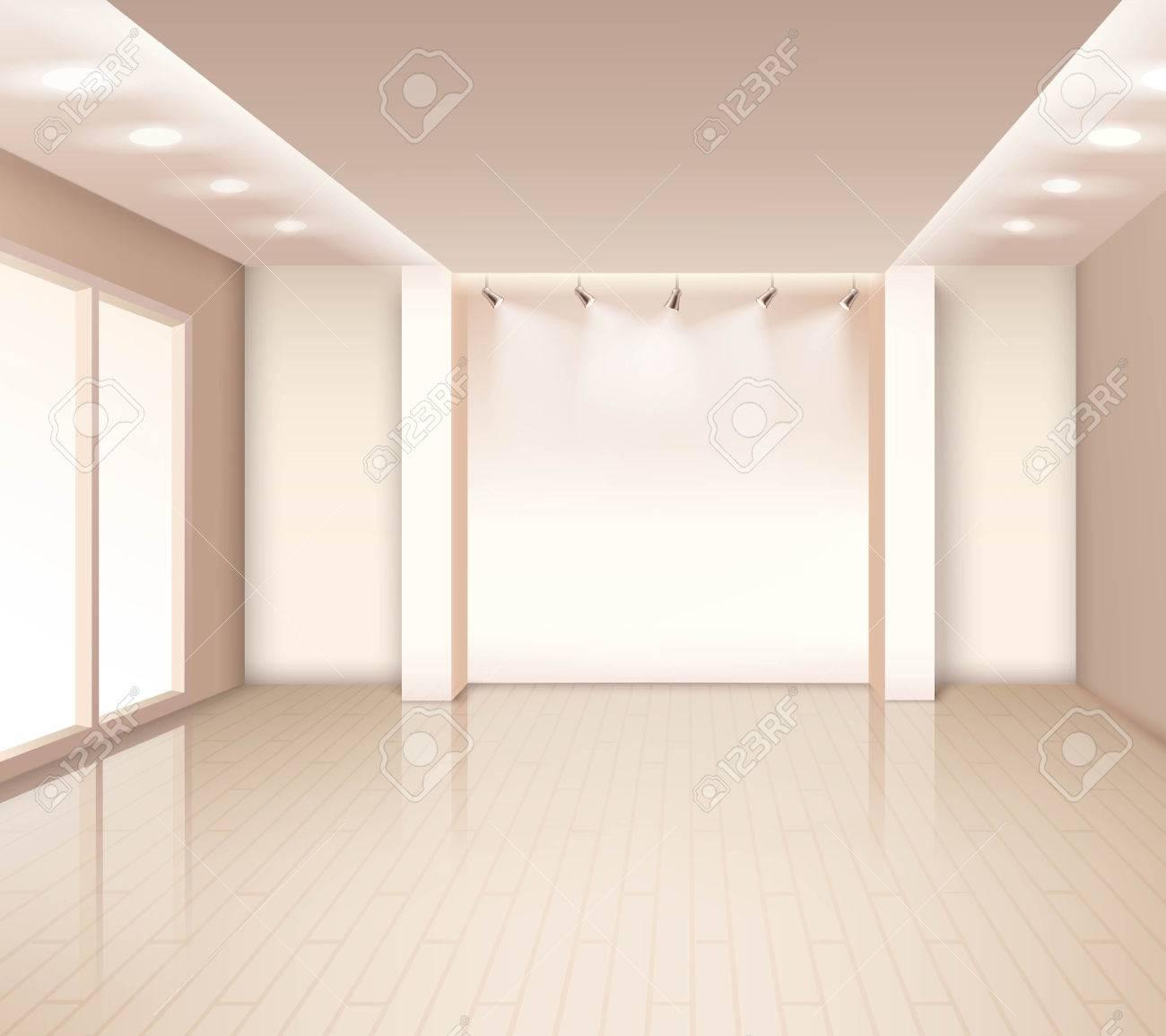 interieur chambre moderne vide avec fenetres eclairage au plafond couleur rose pale illustration vectorielle