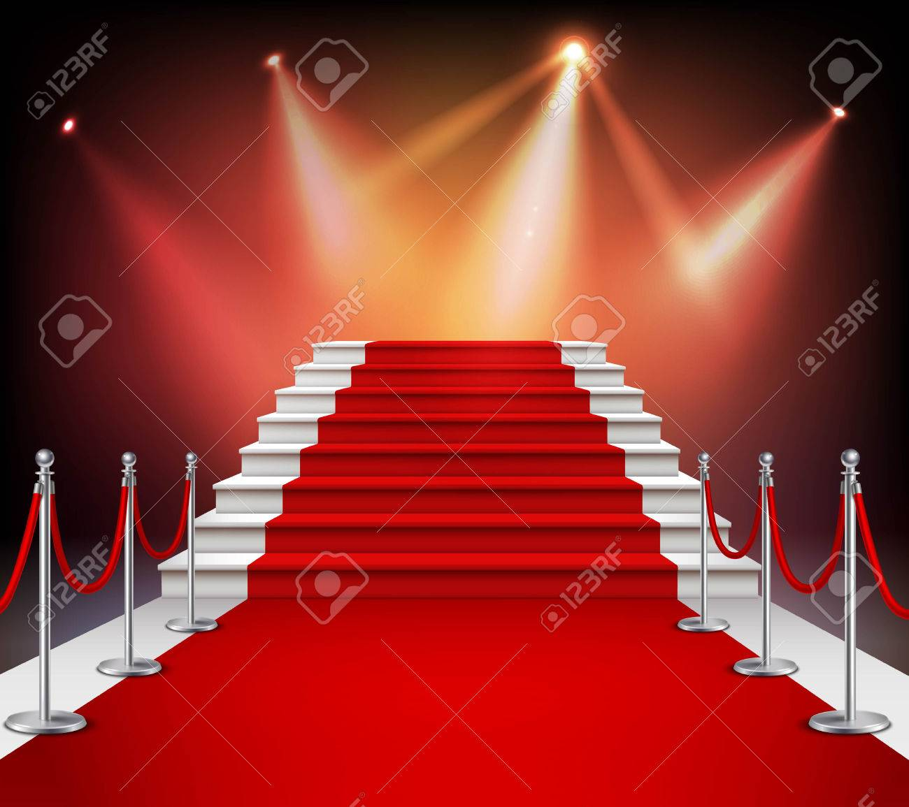 White Stairs Covered With Red Carpet And Illuminated By Spotlight     Vector   White stairs covered with red carpet and illuminated by spotlight  realistic vector illustration
