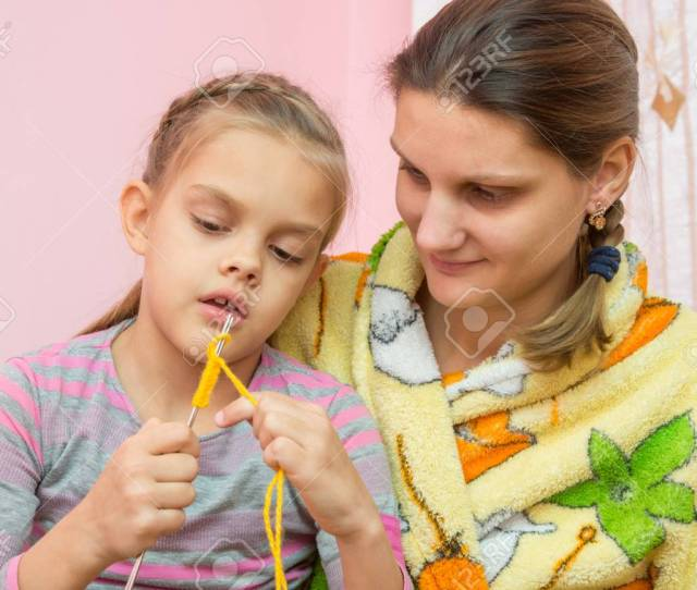 Mom Teaches Daughter To Knit Seven Years Stock Photo 67105508