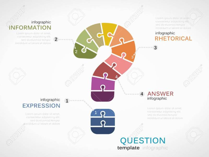 Question Mark Infographic Template With Puzzled Jigsaw Symbol     Question mark infographic template with puzzled jigsaw symbol Stock Vector    35127792