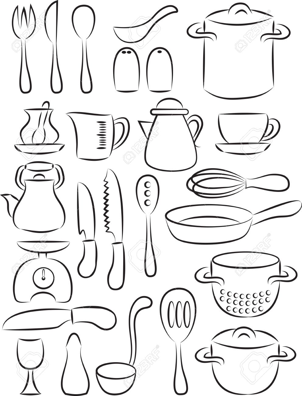 Cooking Utensils Coloring Pages Coloring Page