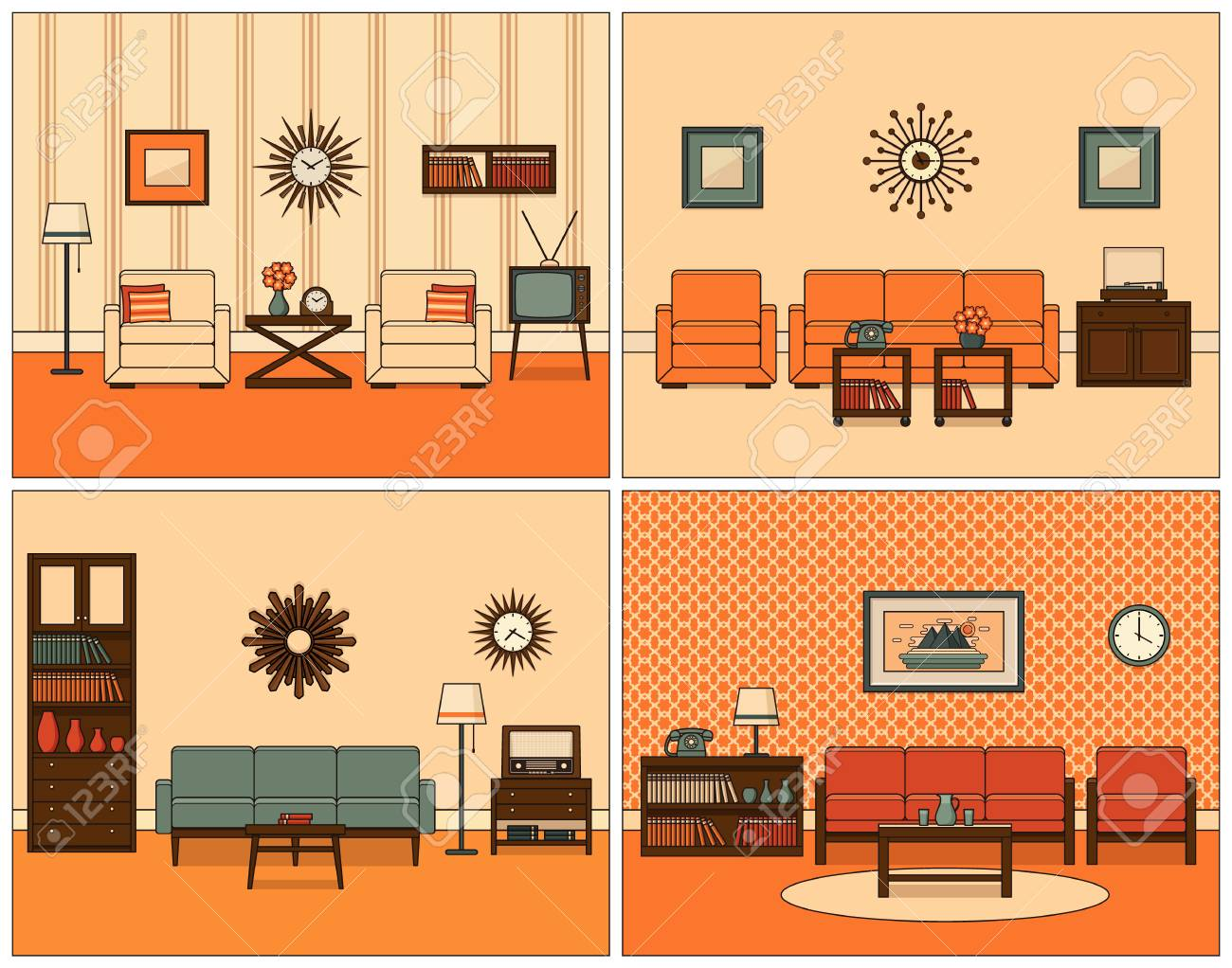 Retro Room Interior Vector Linear Living Room Set Flat Design