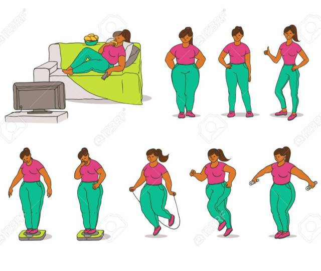 Vector Vector Sketch Set Illustration Of How Fat Black Girl Loses Weight Young Woman Eat And Measures Weight On Scales And Active Play Sports