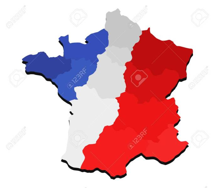 Map Of France With Regions And Flag Stock Photo  Picture And Royalty     map of France with regions and flag Stock Photo   65217964
