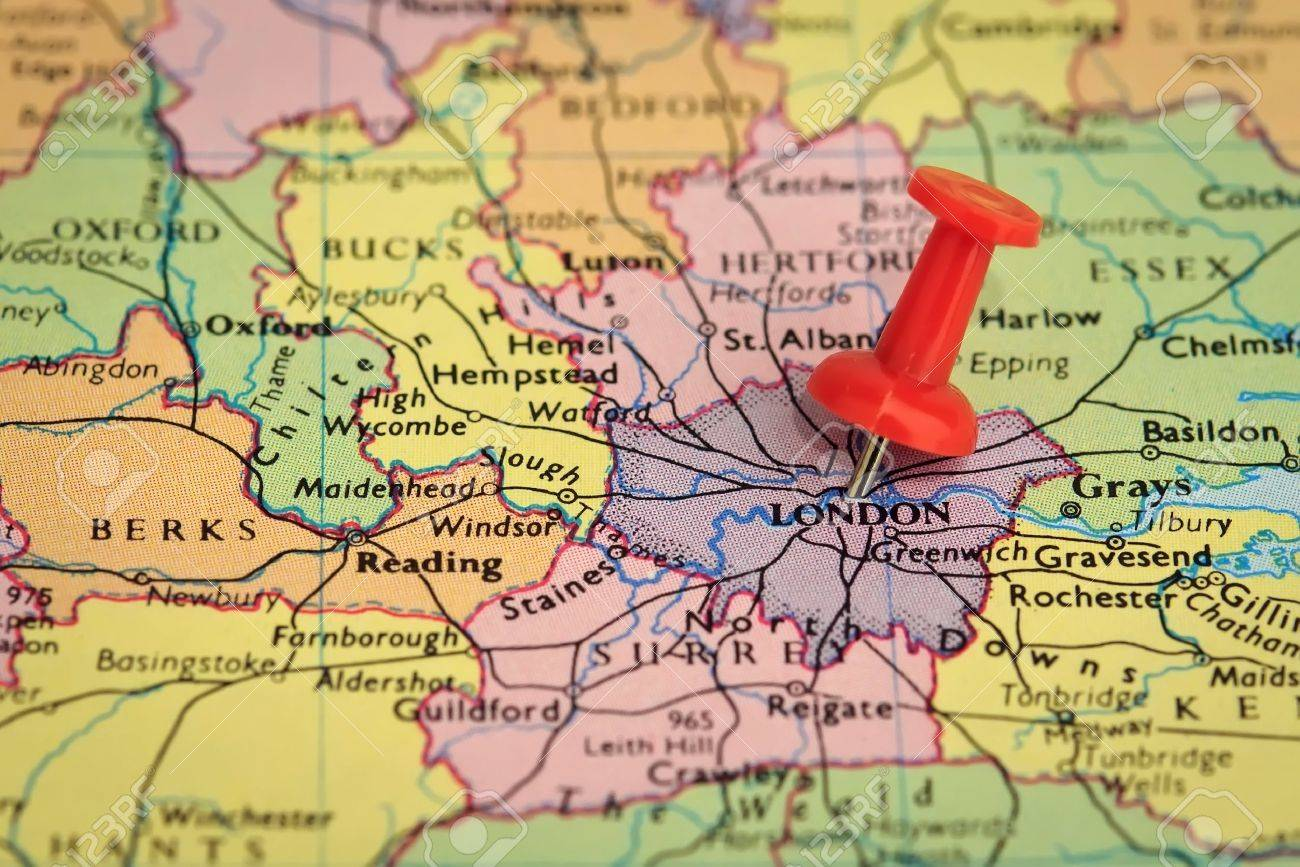 Destination London   Map Pin Stuck Into A Map Of London Stock Photo     Destination London   Map pin stuck into a map of London Stock Photo    14586131