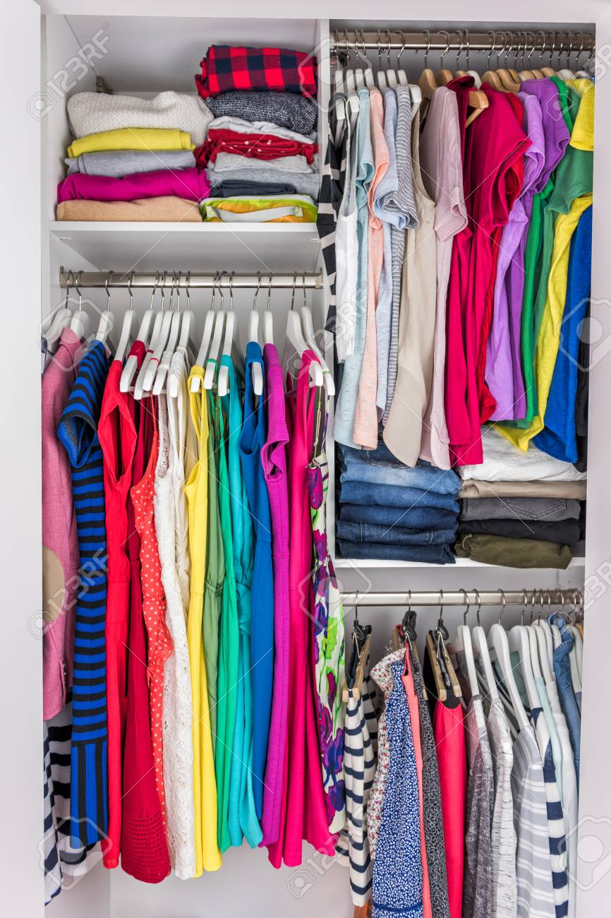 Home Closet Organized Walk In Bedroom Wardrobe Of Women Fashion Stock Photo Picture And Royalty Free Image Image 93544632