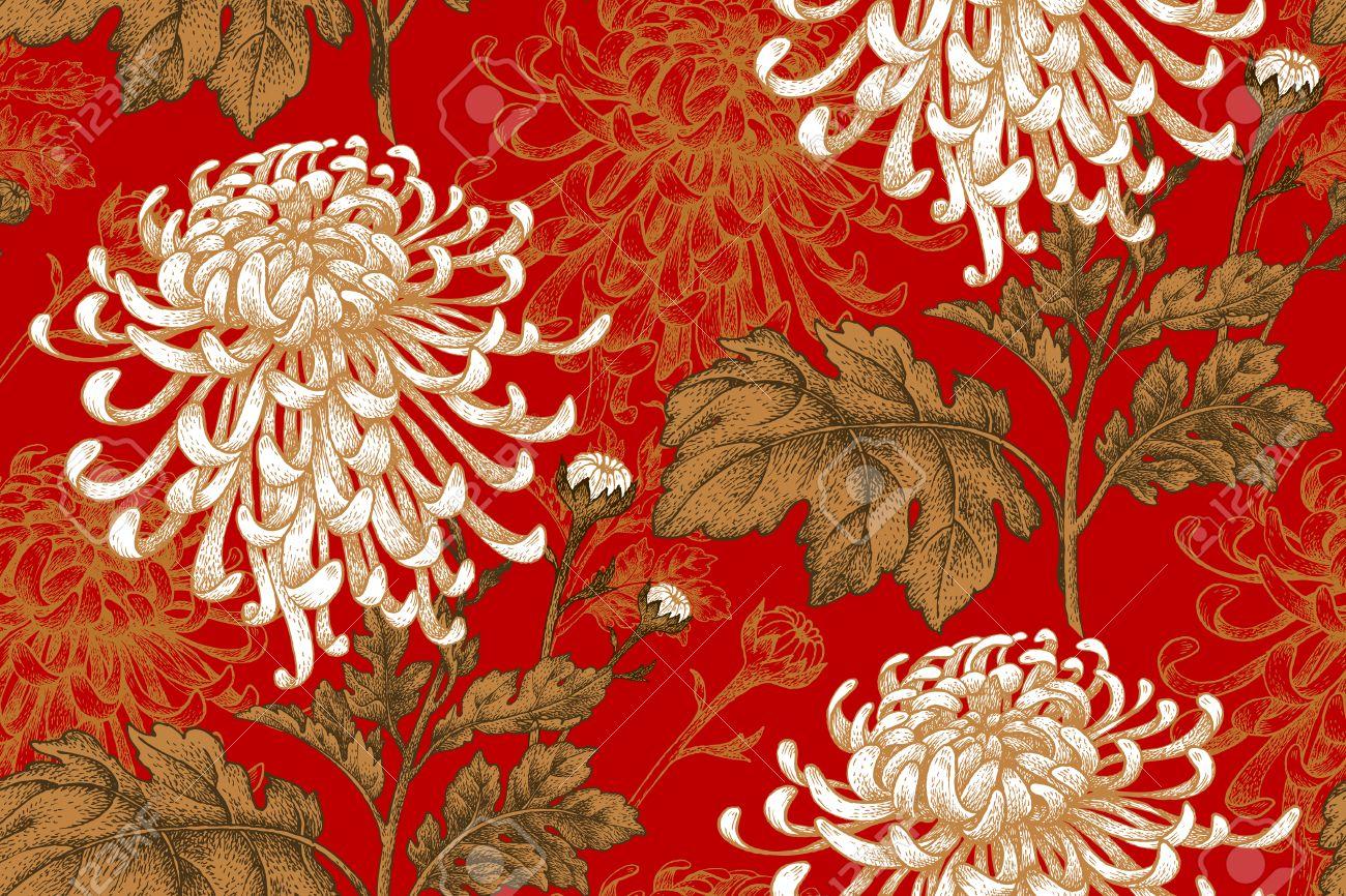 vector seamless floral japonaise chrysantheme nationale de fleurs illustration luxe design textiles papier papier peint rideaux stores