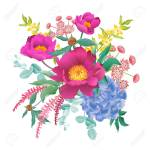 Garden Flowers Decoration Bouquet Peonies Hydrangeas Eucalyptus Royalty Free Cliparts Vectors And Stock Illustration Image 122904691