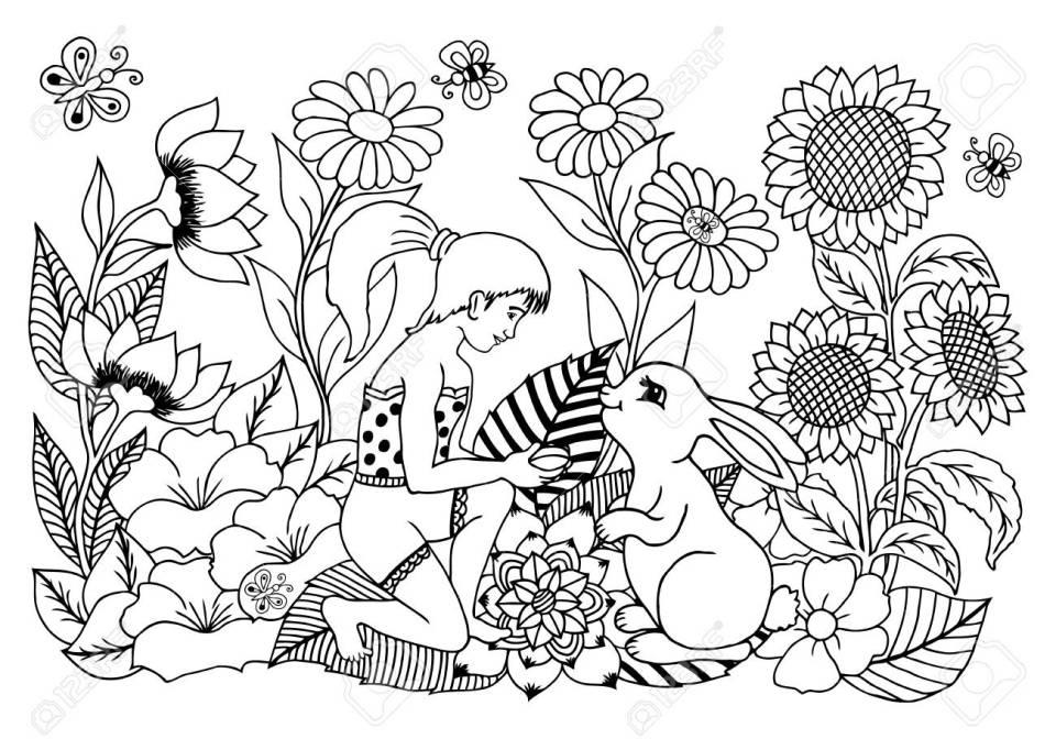 ウサギと花の女の子のベクター イラストです。手で作られた作品。大人と
