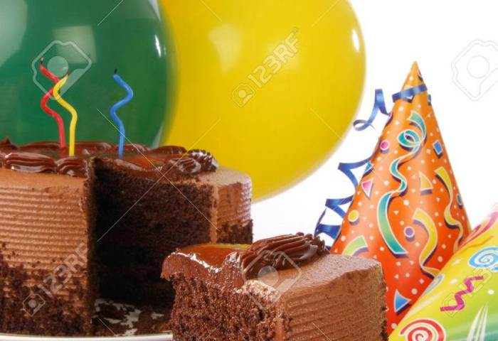Chocolate Birthday Cake With Ice Cream Balloons And Party Favors