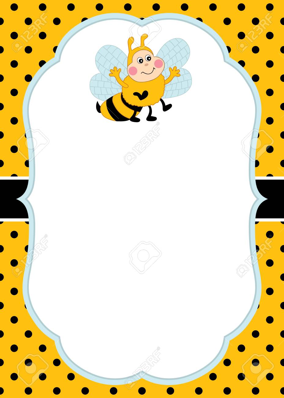 vector card template with a cute bee on polka dot background
